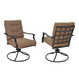 Garden Treasures Set Of 2 Eastmoreland Slat Seat Steel Swivel Patio Dining Chairs With