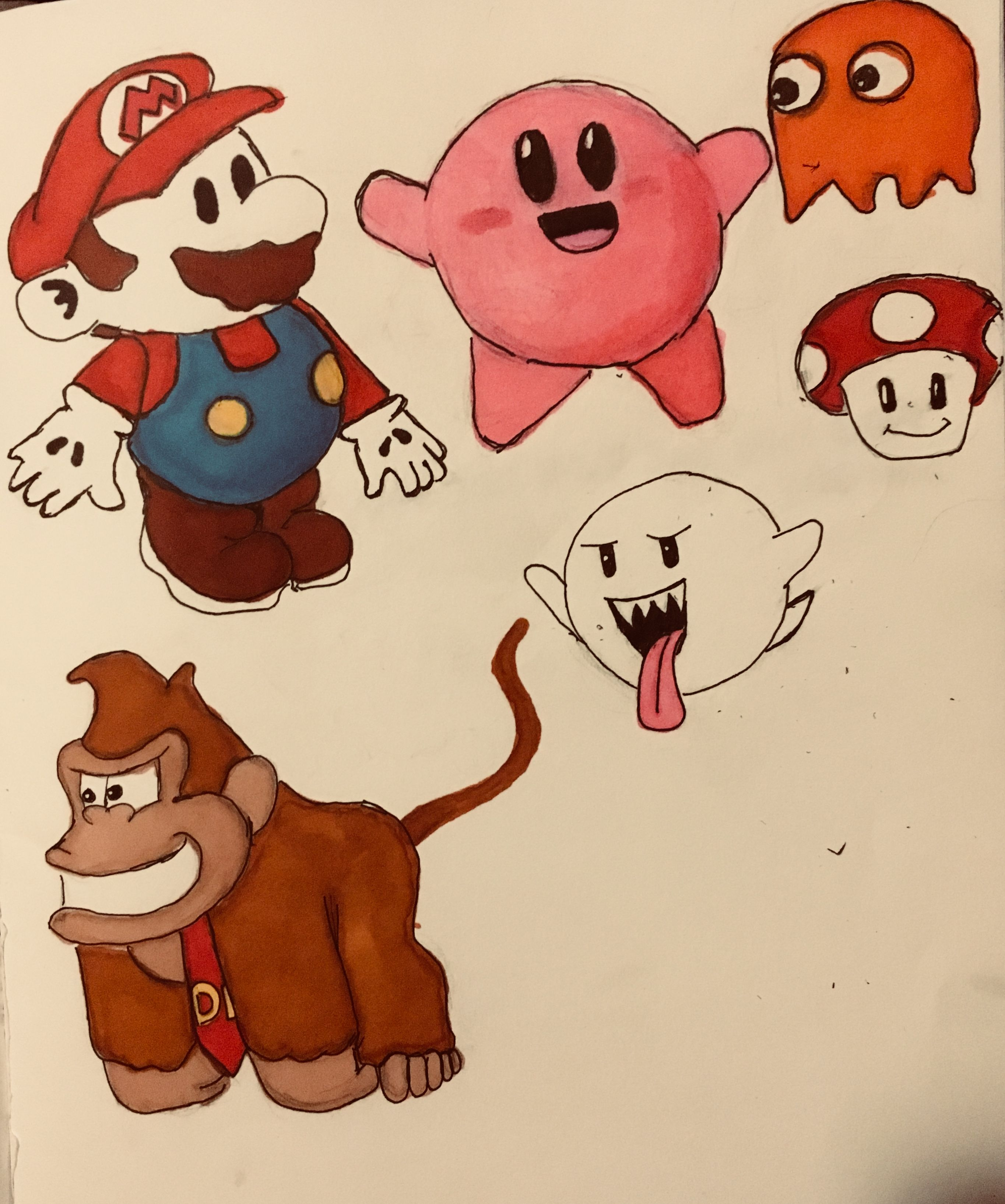 Video Game Characters Drawing Markers Alcohol Based Dk Mario