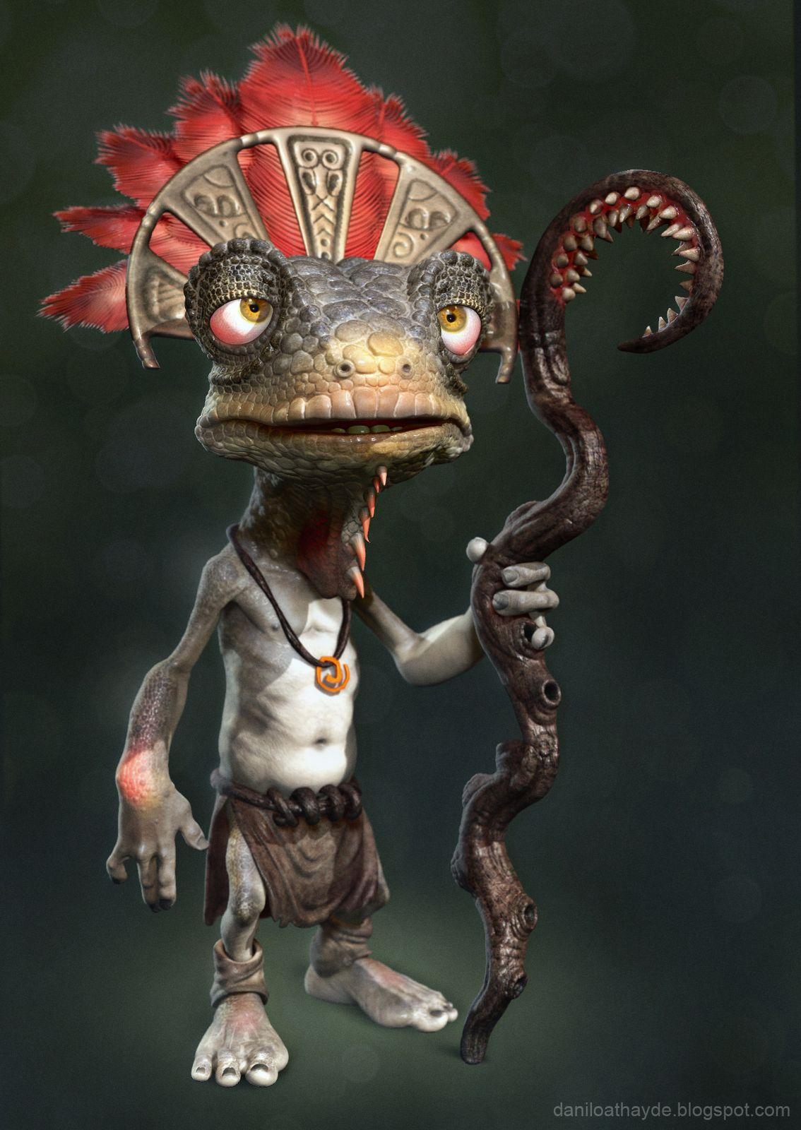 Character Design Zbrush : Iguana king danilo athayde on artstation at https