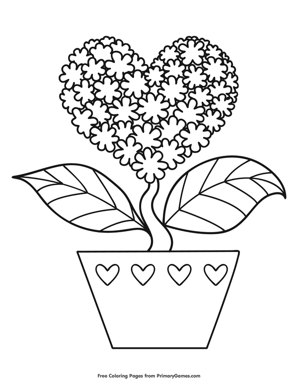 Coloring Pages Of Hearts And Flowers : coloring, pages, hearts, flowers, Coloring, Pages