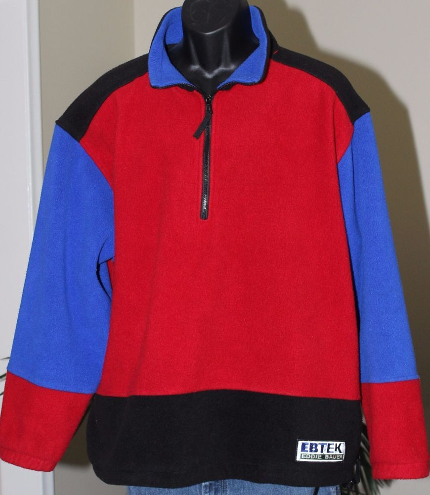Vintage Men's Eddie Bauer EBTek Blue Quarter-zip Fleece Jacket Large coyi9vNIAZ