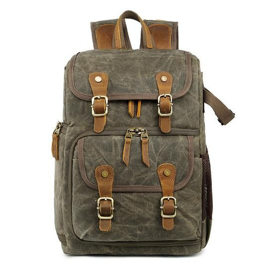 Waterproof Waxed Canvas Photography Bag Camera Slr Shoulder Photography  Backpack - Army Green - Camera Bags   Cases Woosir d3e846a66adfb
