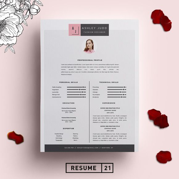 fashion designer resume template cv by resume21 on creativemarket ms