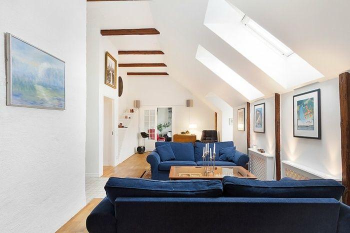 Schmales Wohnzimmer Dachschrage Blaue Zweisitzer Dachschrage 2 Og