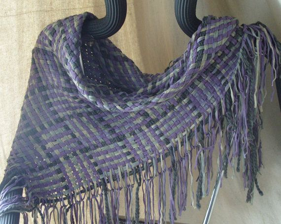 Handwoven Triangle Scarf Winter Twilight Cowl by barefootweaver