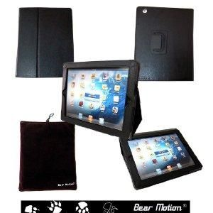 Free Bid Auction: Bear Motion 100% Genuine Leather Case with Built-in Stand for iPad 3 / the New iPad (Latest Generation) - Black - Zeekler