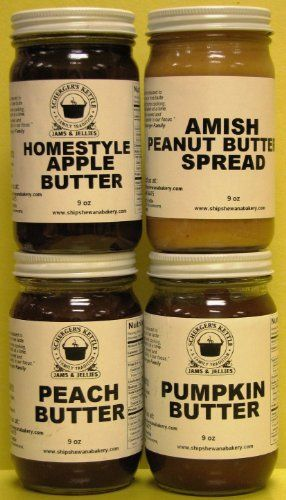 Our Delicious Butters - Fruit Butters and Amish Peanut Butter (4-9 oz jars in a gift box) $19.95
