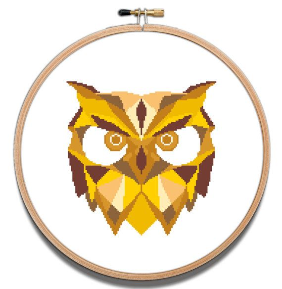 The owl cross stitch pdf pattern geometric bird cross for Art minimaliste pdf