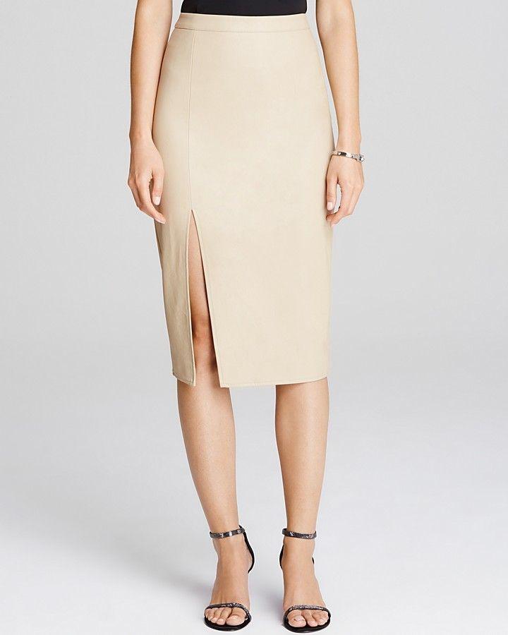 9c975cf9b Bardot Faux Leather Side Slit Pencil Skirt   style   Faux leather ...
