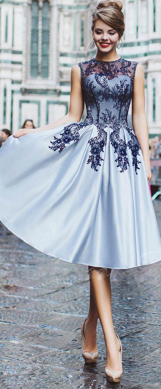 Gorgeous satin jewel neckline tealength aline prom dresses with