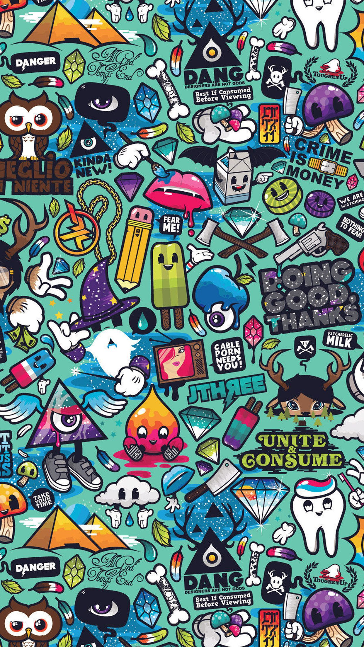 awesome art-work-pattern-illustration-graffiti-iphone6-plus-wallpaper