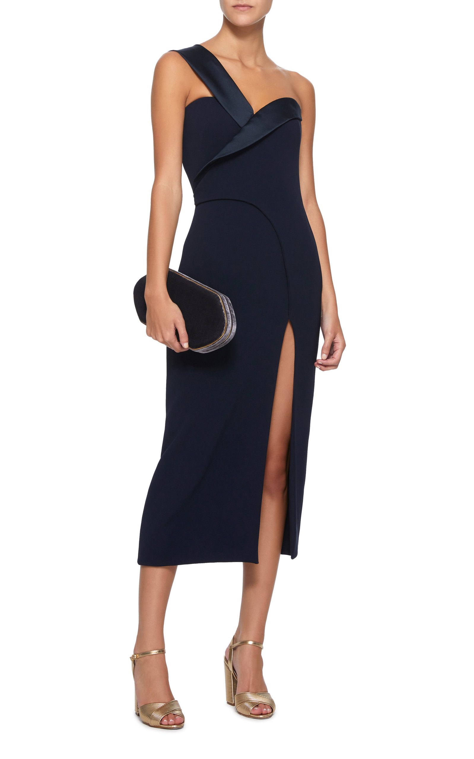 9025f0b2e79 Satin-Trimmed One-Shoulder Midi Dress by BRANDON MAXWELL Now Available on Moda  Operandi