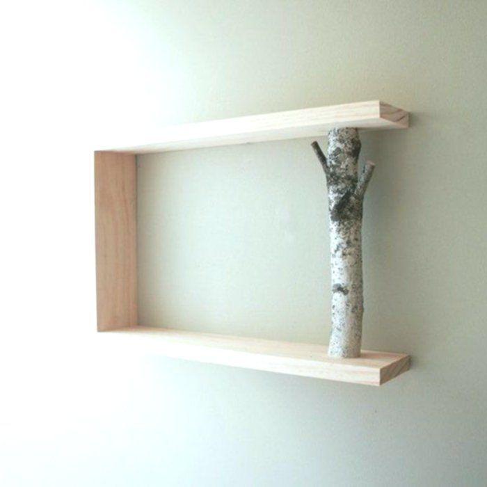 Wandregal Selber Bauen Ast Holz Kreative Diy Idee Wandgestaltung Eckiges Regal Wandregale Selber Bauen Holz Kreativ Regal Selber Bauen