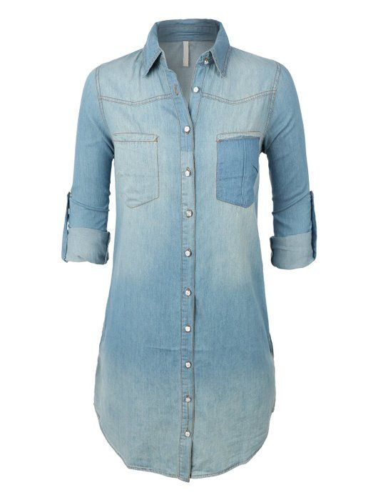 1ac1c5d816 LE3NO Womens Classic Loose Fit Chambray Jean Denim Shirt Dress with Pocket