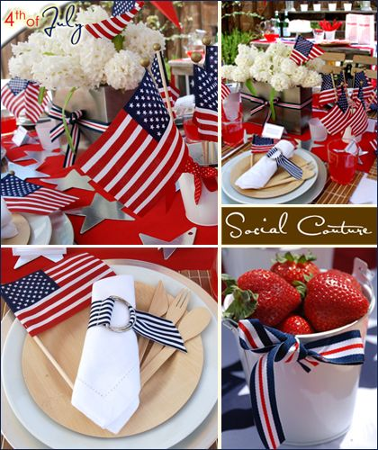 The patriotic table decoration holidays and red white blue for 4th of july party decoration