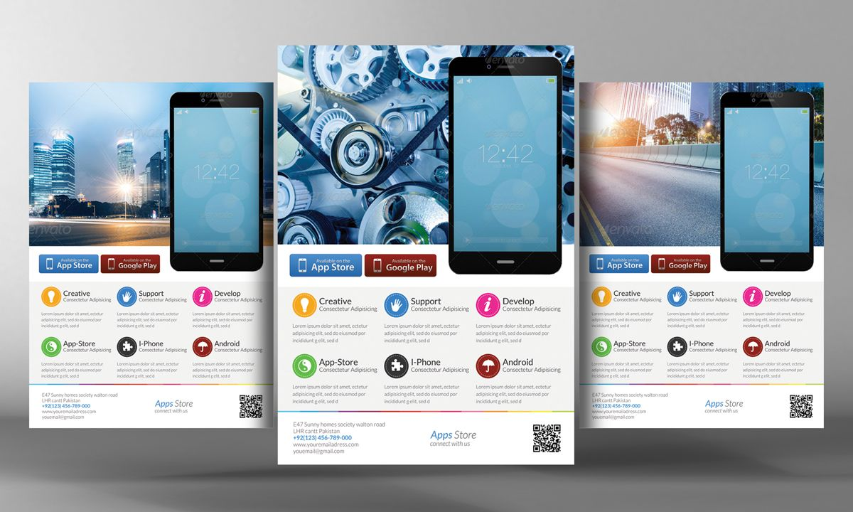Alternative Mobile App Flyer By Business Templates On - Postcard flyer template