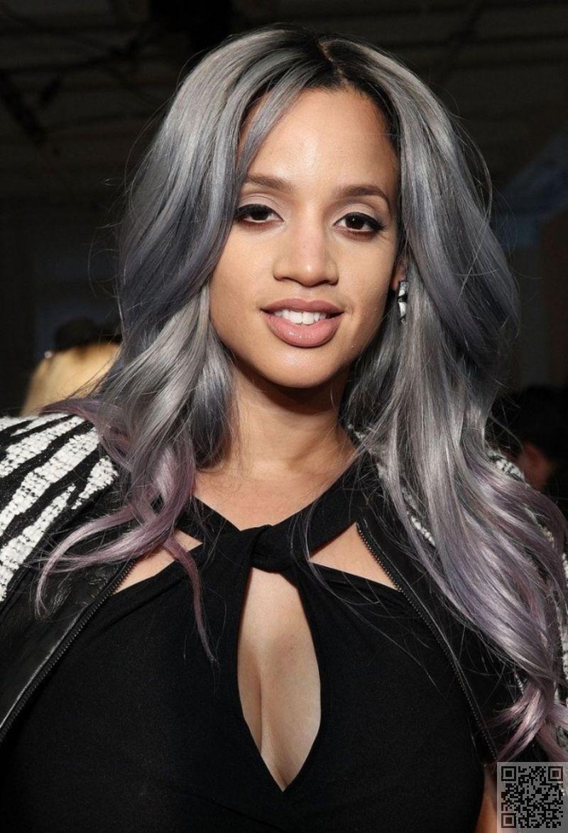 Purple Grey Ombre Grey Hair Looks Grey Hair On Dark Skin Grey Hair Color