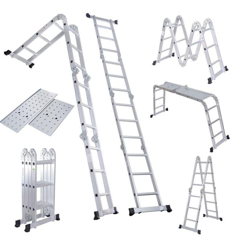 15 5 Ft Multi Purpose Aluminum Folding Step Platform Scaffold Ladder Multi Purpose Ladder Scaffold Ladder Ladder