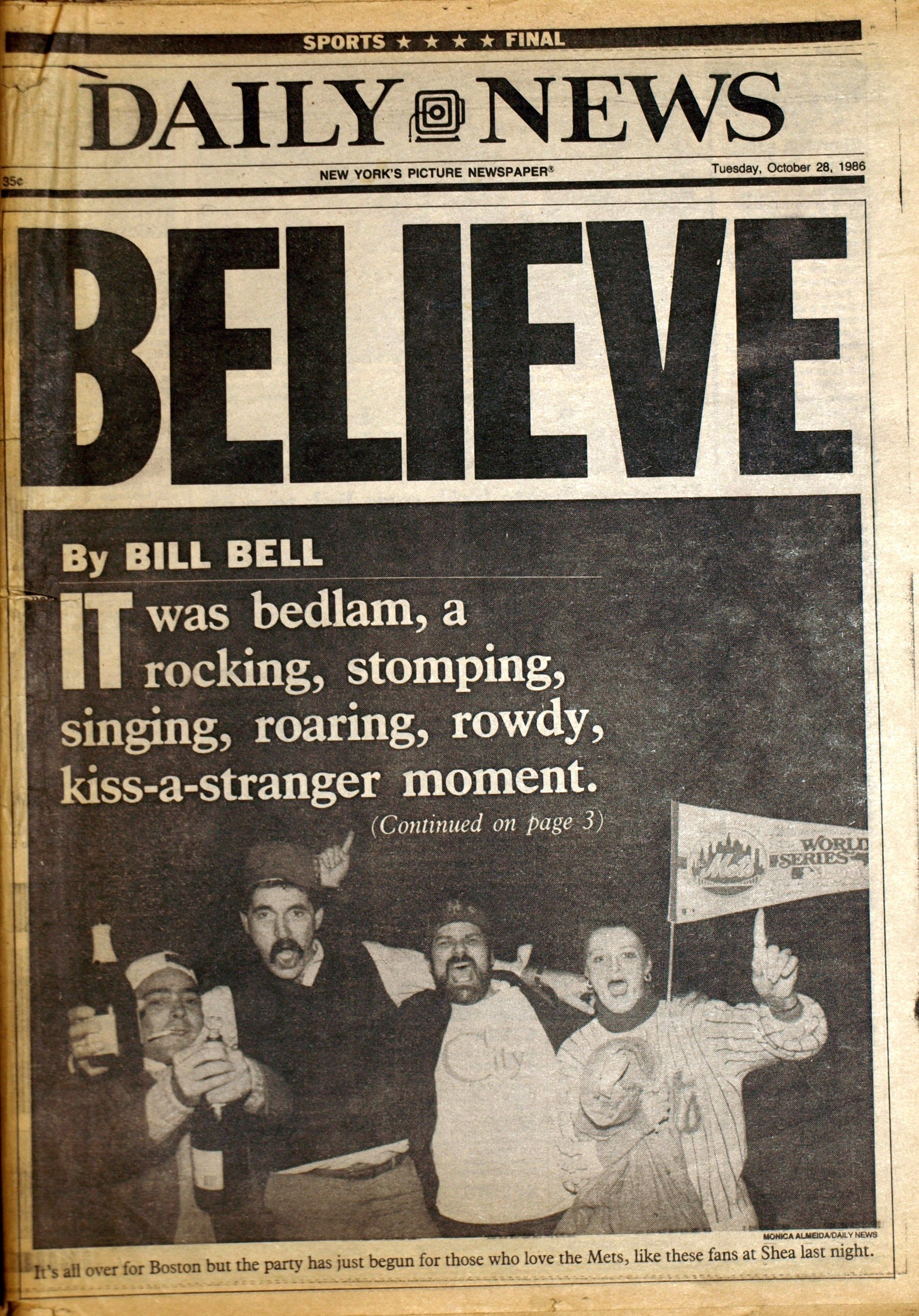 f60bc0cb2 1986 World Series - Mets. 1986 World Series Game 7 - DAILY NEWS Front Page