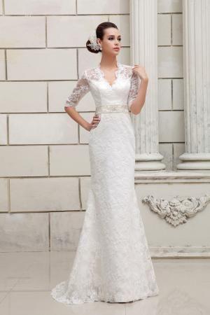 Half Sleeves Keyhole Back V Neck Design Lace Wedding Dress