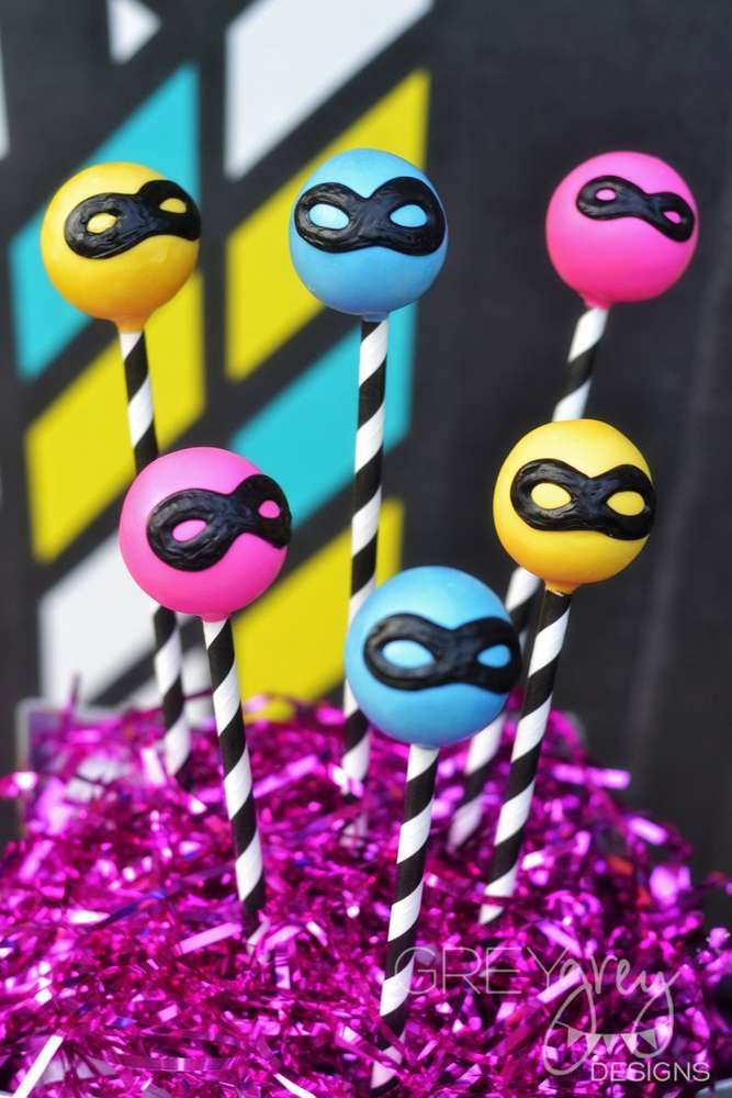 Check out these cake pops at a girly superhero birthday party! See more party ideas at CatchMyParty.com!