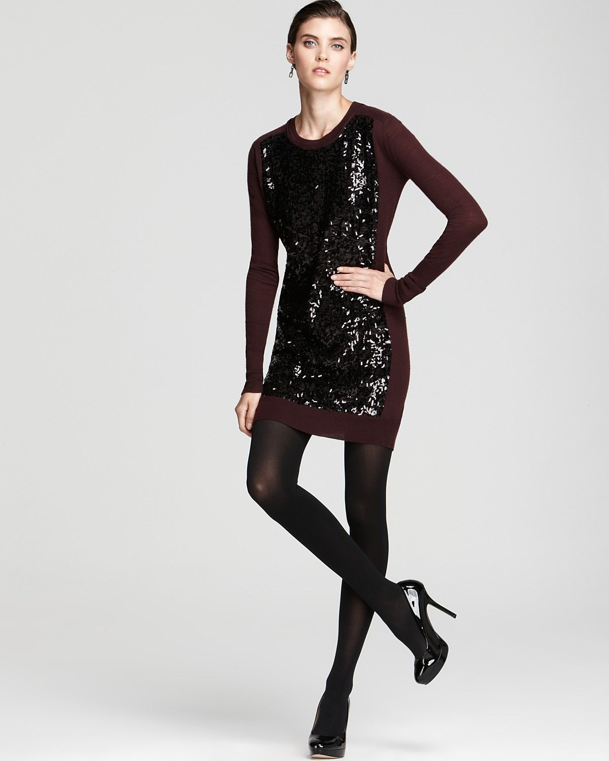 DIANE von FURSTENBERG Sweater Dress - Danette Sequin Embellished ...