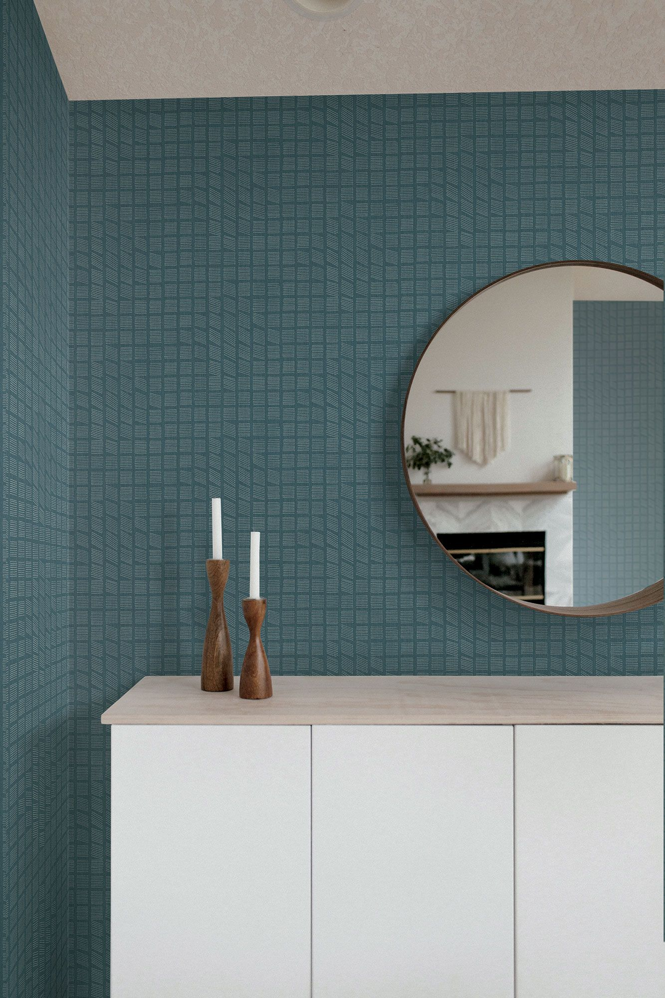 Kindling Wallpaper Blue Geometric wallpaper modern