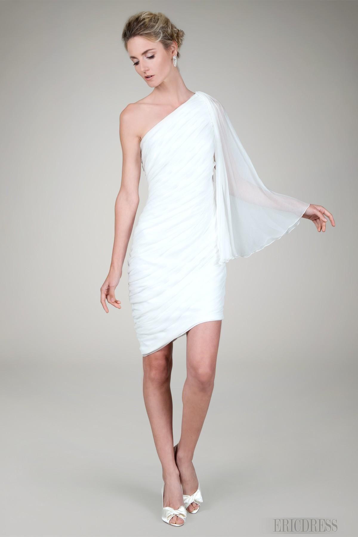 www.ericdress.com - Chic Sheath Column One Sleeve Short Mini Length Beach Wedding Dressi