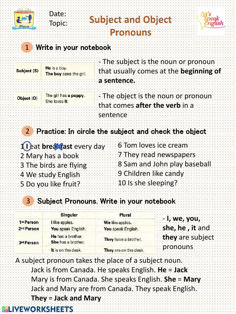 Subject and object pronouns interactive and downloadable