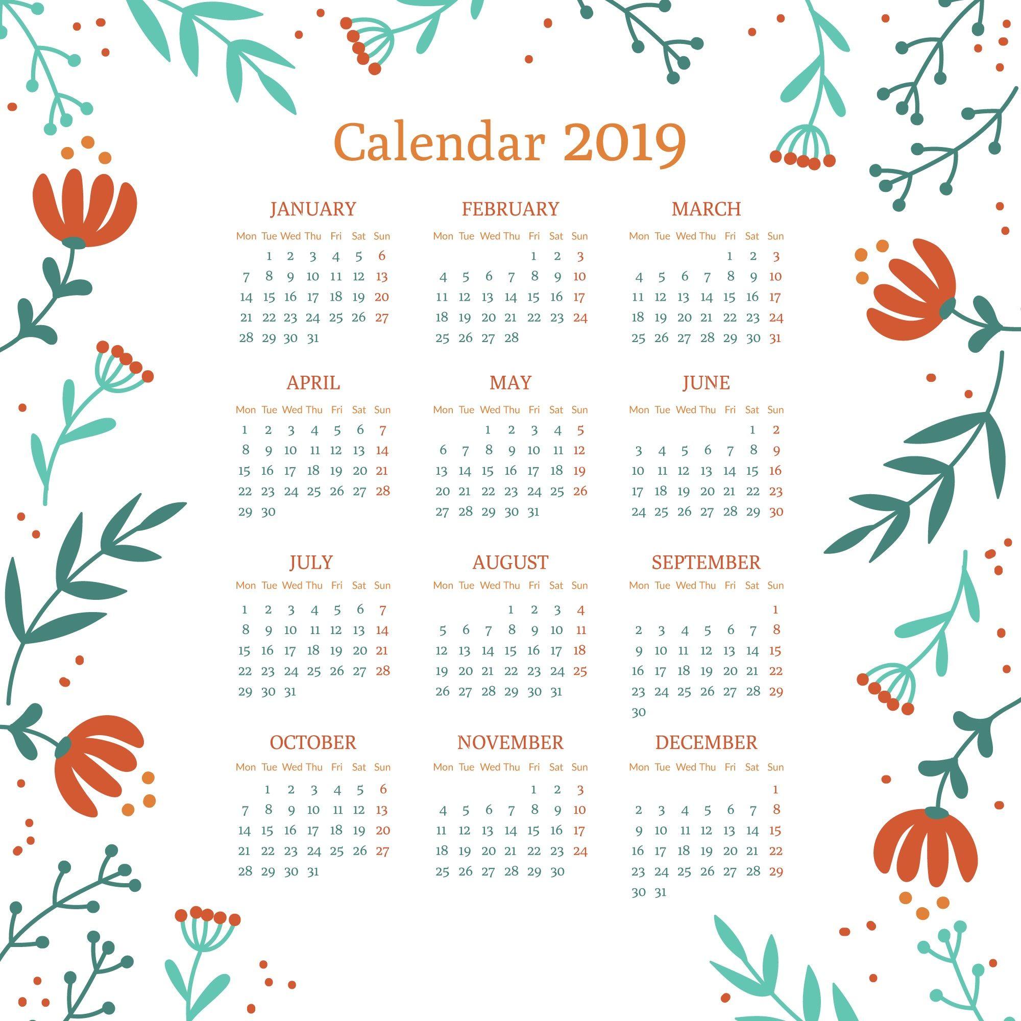 Calendar Printable 2019 Template Calendar 2019 Printable