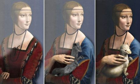 Three versions of Leonardo da Vinci Lady with an Ermine.  Secrets of Leonardo da Vinci painting laid bare by new scanning technique Art expert hails 'remarkable' revelation by French scientist that Lady with an Ermine portrait was painted three times