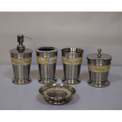 Fashion Home Mother of Pearl 5 Piece Bathroom Accessory Set