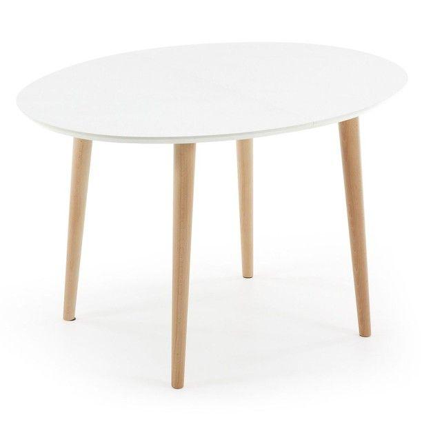table oqui extensible ovale 120-200 cm, naturel et blanc | cm