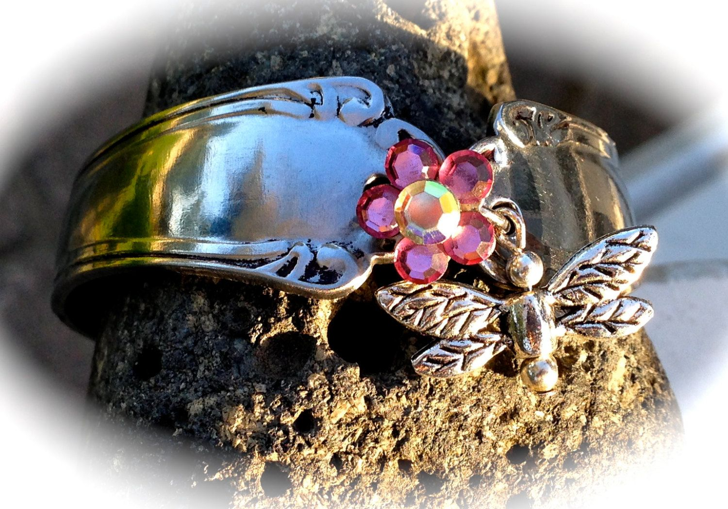 Beautiful bracelete recycled from Stainless Steel silverware by SuzoosPlace on Etsy