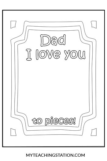 Dad I Love You To Pieces Kids Craft Social Studies Worksheets Love You To Pieces Kindergarten Social Studies