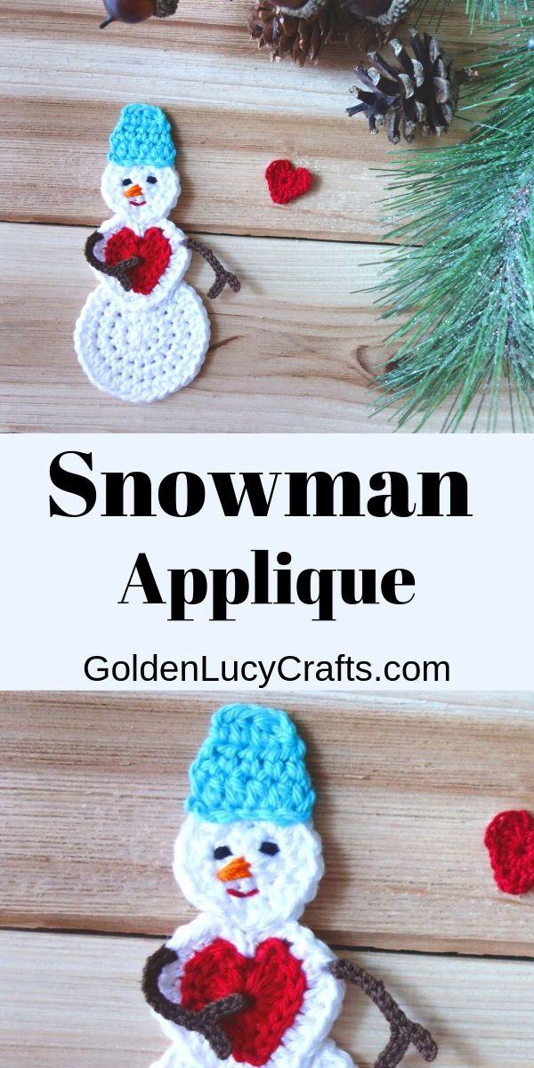 Crochet Snowman Free Crochet Pattern Goldenlucycrafts Christmas Crochet Patterns Crochet Applique Patterns Free Diy Crochet Projects