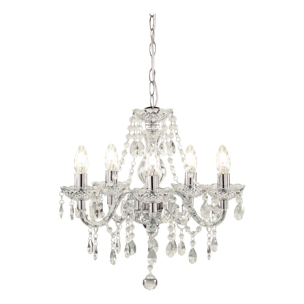 Bathroom Ceiling Lights Wilkinsons marie therese chandelier 5 arm clear | light fittings, chandeliers