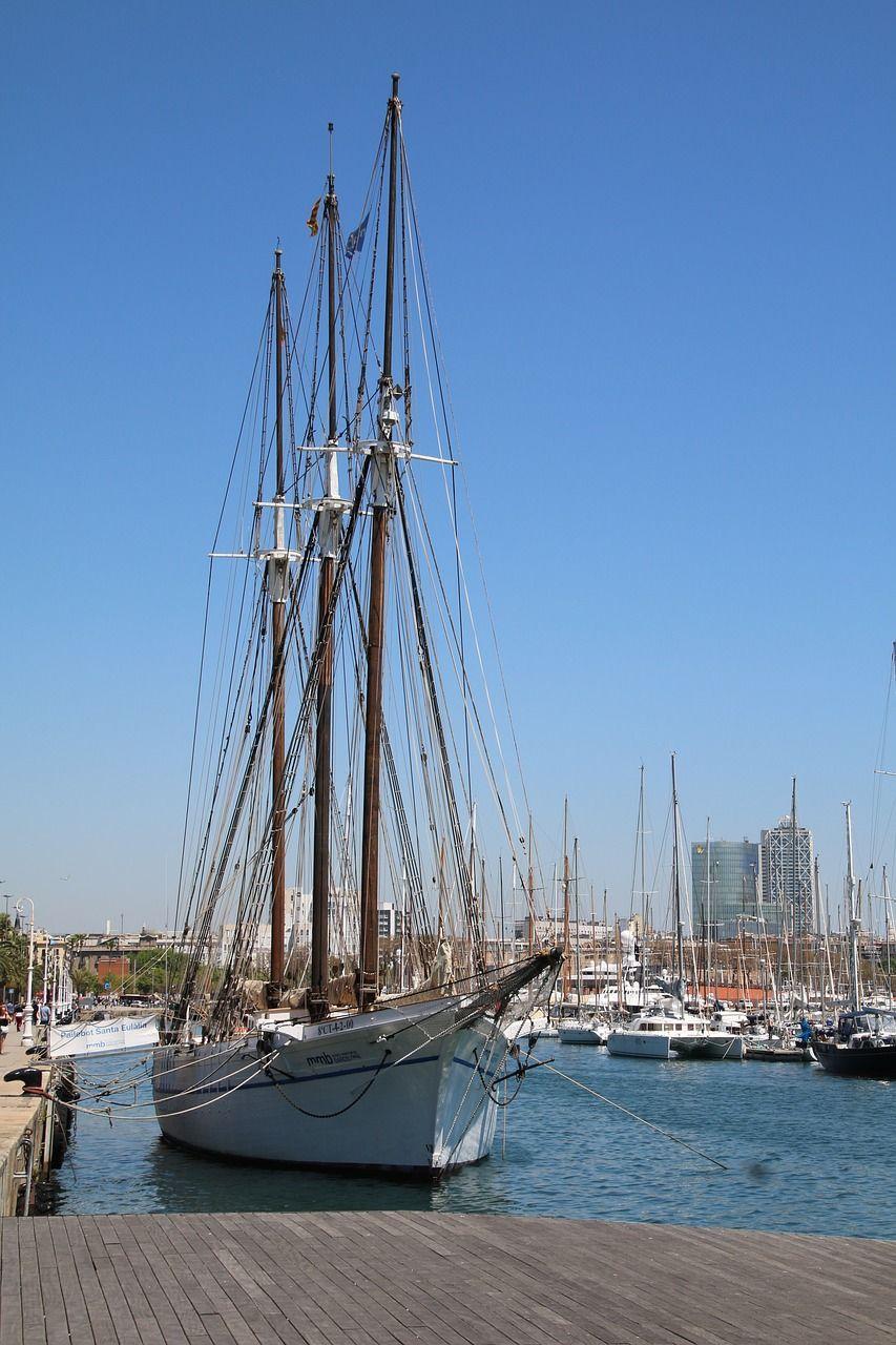 Boat, Ship Sailing Boat Barcelona Summer Holiday #boat