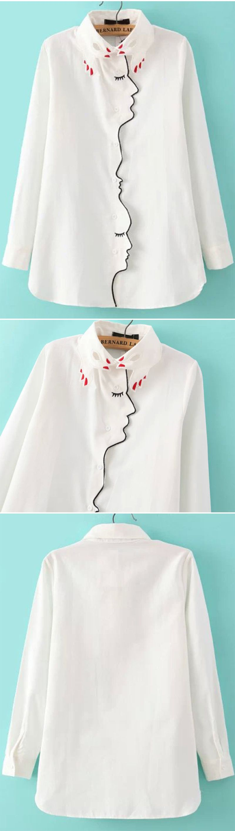 White Hand Collar Embroidered Blouse. Sale for US$19.25. Nice equipment shirt blouse with delicate embroidered detail. Stylish loose long shirt dress collar streetwear.