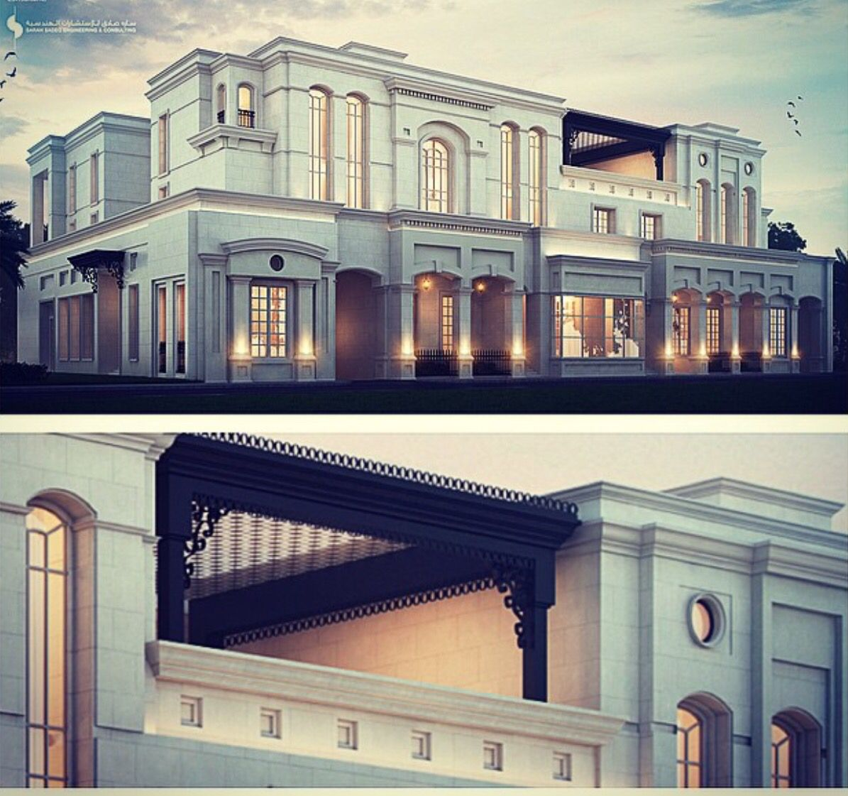 2000 m classic private villa kuwait sarah sadeq architects for Classic villa exterior design