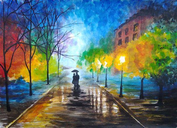 Rainy Night Original Watercolor Painting A Couple With Umbrell Watercolor Paintings Easy Watercolor Landscape Paintings Watercolor Paintings For Beginners
