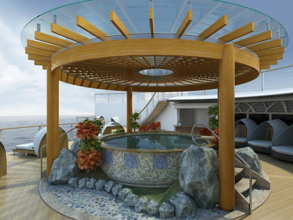 For the traveler seeking a little extra relaxation, the Diamond is newly bestowed with a $30 million open-air Japanese bathhouse, the world's largest of its kind. Panoramic window views complement the rustic stone bath, permitting passengers to spa and sightsee in tandem as they travel through Southeast Asia. The spa covers an expansive 8,000 square feet and has indoor and outdoor bathing areas designed to replicate the tranquility and rejuvenation of traditional Japanese bathhouses…