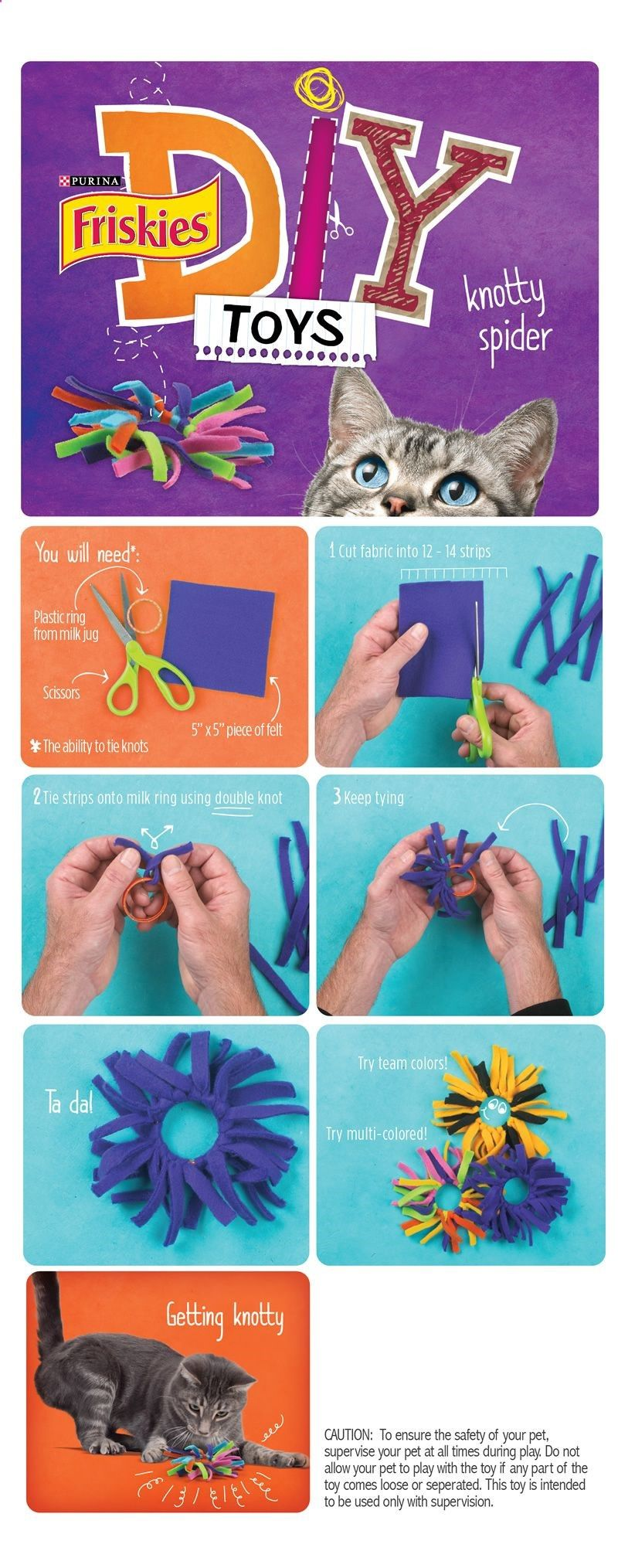 Friskies Diy Homemade Cat Toys Knotty Spider Awesome Toys For Kitty My Son And I Have Three Of These Toys Alread Diy Cat Toys Homemade Cat Toys Diy Pet Toys
