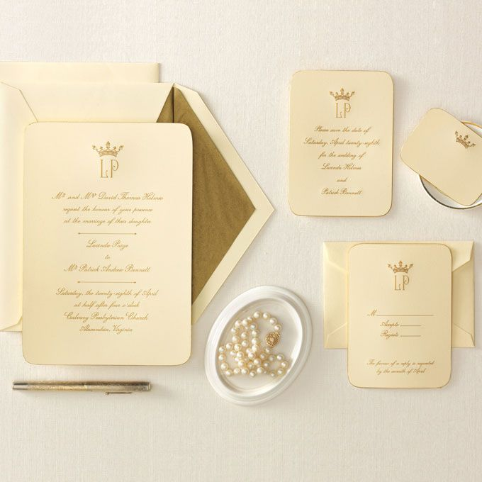 Brides.com: Royal Wedding Invitations. These Luxe Engraved Invitations  Feature Hand Beveled