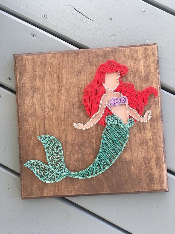 12x12 Mermaid Ariel String Art Sign Stain Color Can Be Customized