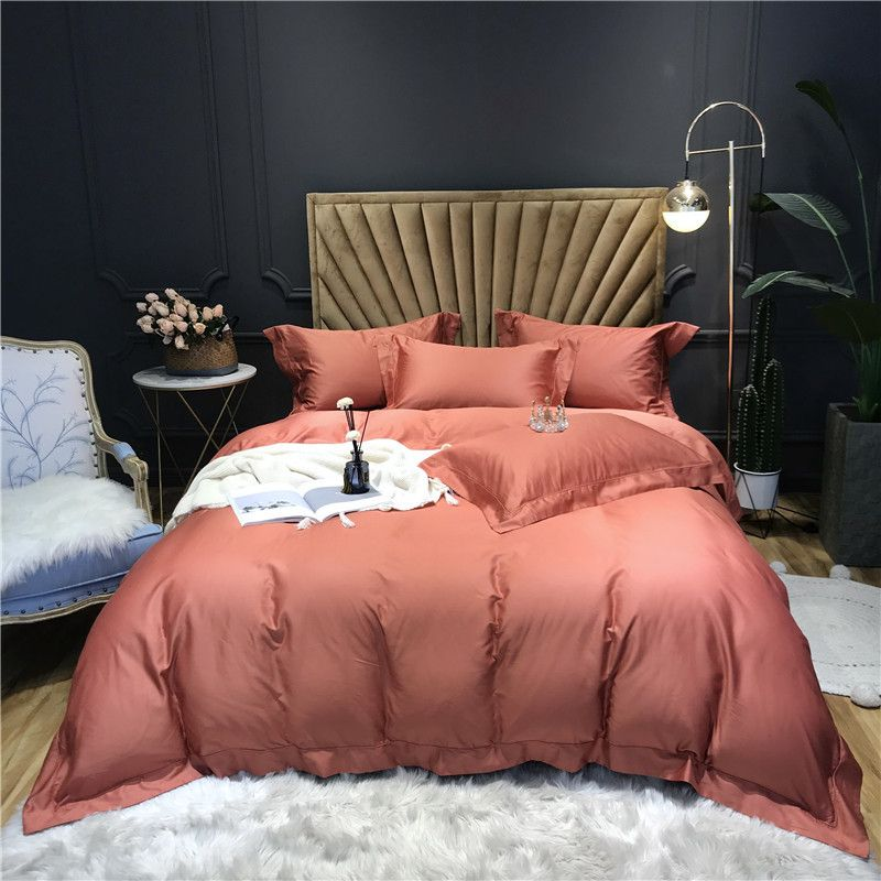 Solid Color Egyptian Cotton Duvet Cover Bed Fitted Sheet Set 1000tc Long Staple Sateen Weave Egyptian Cotton Duvet Cover Luxury Duvet Covers Cheap Bedding Sets