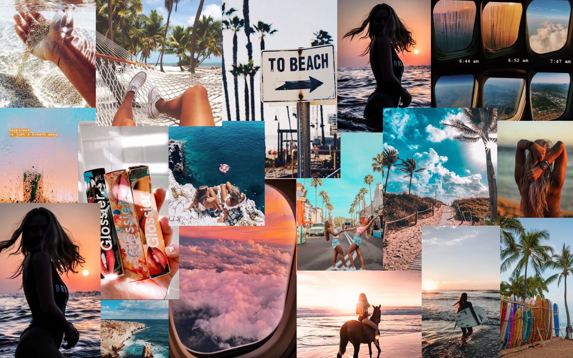 Summer Vibes Collage Background in 2020 Pink wallpaper