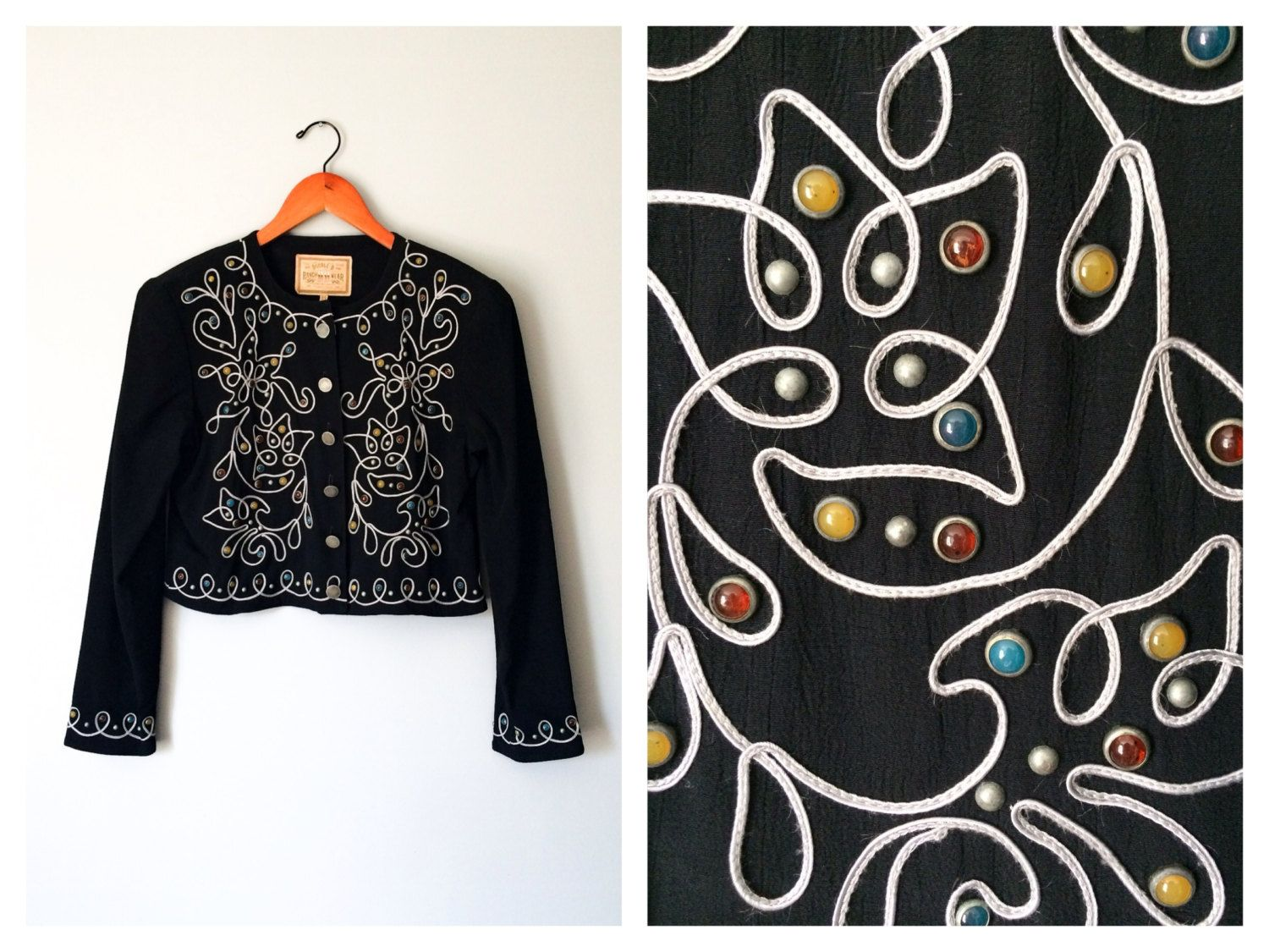 Vintage Black Bolero Jacket Southwestern Embroidered Western Blazer Double D Ranchwear Gemstone Cabochon Silver Pewter Size XS Small M Large by HexHeartHollow on Etsy