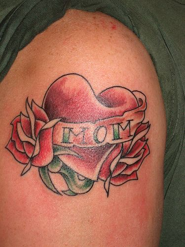 Amazing Tattoos Heart Beat With Dates: Amazing Rose Heart With Mom Banner Tattoo