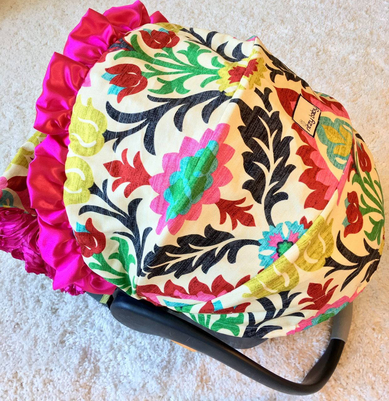 Ritzy Baby Designs, LLC - Santa Maria Damask and Hot Pink Roses Infant Car Seat Cover, $125.00 (http://www.ritzybaby.com/santa-maria-damask-and-hot-pink-roses-infant-car-seat-cover/)